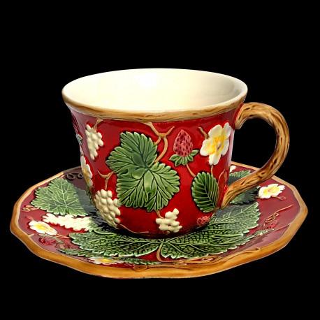 """Tasse à déjeuner et sous tasse rouge """"George Sand"""""""