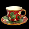 "Majolica red breakfast cup ""George Sand"""