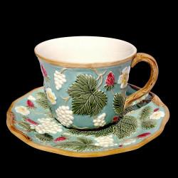 """Tasse à déjeuner et sous tasse turquoise """"George Sand"""""""