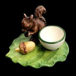 Squirrel and acorn egg cup