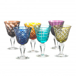 6 Verres à vin motif géométriques couleurs assorties
