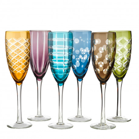 6 Assorted colored and geometric pattern Champagne glasses