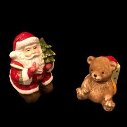 Sel et poivre ours et père Noël faience