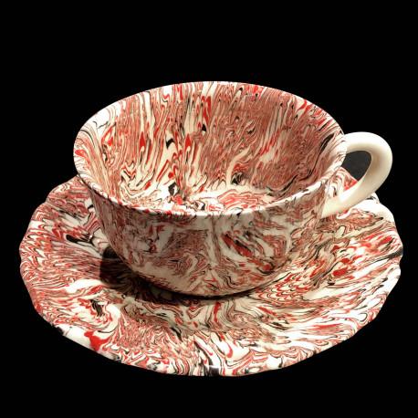 Tasse ronde et sous tasse dentelée terre mêlée collection Bordeaux forme disque et dentelé