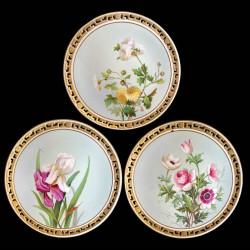 11 assiettes Fleurs en porcelaine Minton, 1874-1884