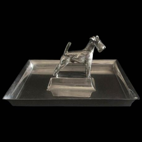 Plateau Art Déco Gallia en métal argenté avec un chien sculpté