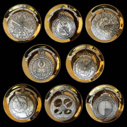 8 Piero Fornasetti Astrolabio Porcelain Plates circa 1970