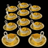 12 Swan cups and saucers in Dagoty porcelain 1804-1814