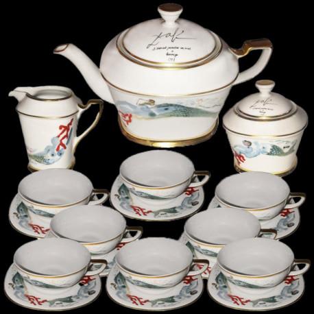 """Service à thé en porcelaine """"Sirenas"""", Dali, 1977, n°520"""