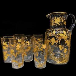 Service verre émaillé or oiseaux et fleurs 6 verres 1 carafe Toy Leveillé 1900