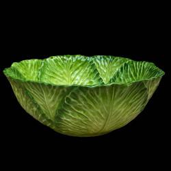 Majolica green cabbage salad bowl