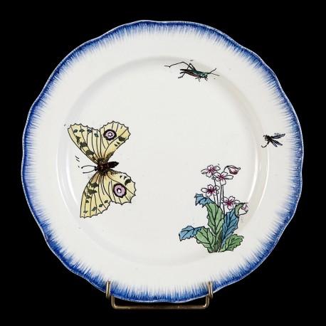 Bracquemont Papillon jaune & Sauterelle assiette D 25 cm