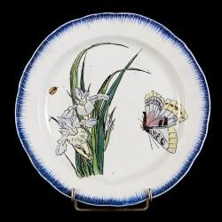 Bracquemond Iris parme & Papillon assiette D 25 cm