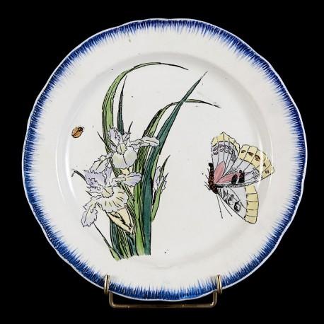 Bracquemond Mauve iris & Butterfly plate D 25 cm