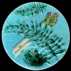 Assiette à asperge barbotine turquoise fougère
