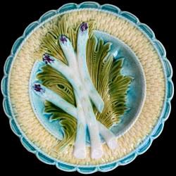 assiette à asperges début XXe osier barbotine