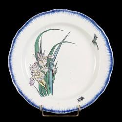 Bracquemond Iris rose & Libellule assiette D 24,5 cm