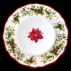 Majolica Poinsettia dinner plate Red nose