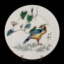 Oiseau bleu vert sur une patte & Rosier assiette D 25, 5 cm