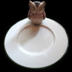 Hibou sur petite assiette D16,6 cm